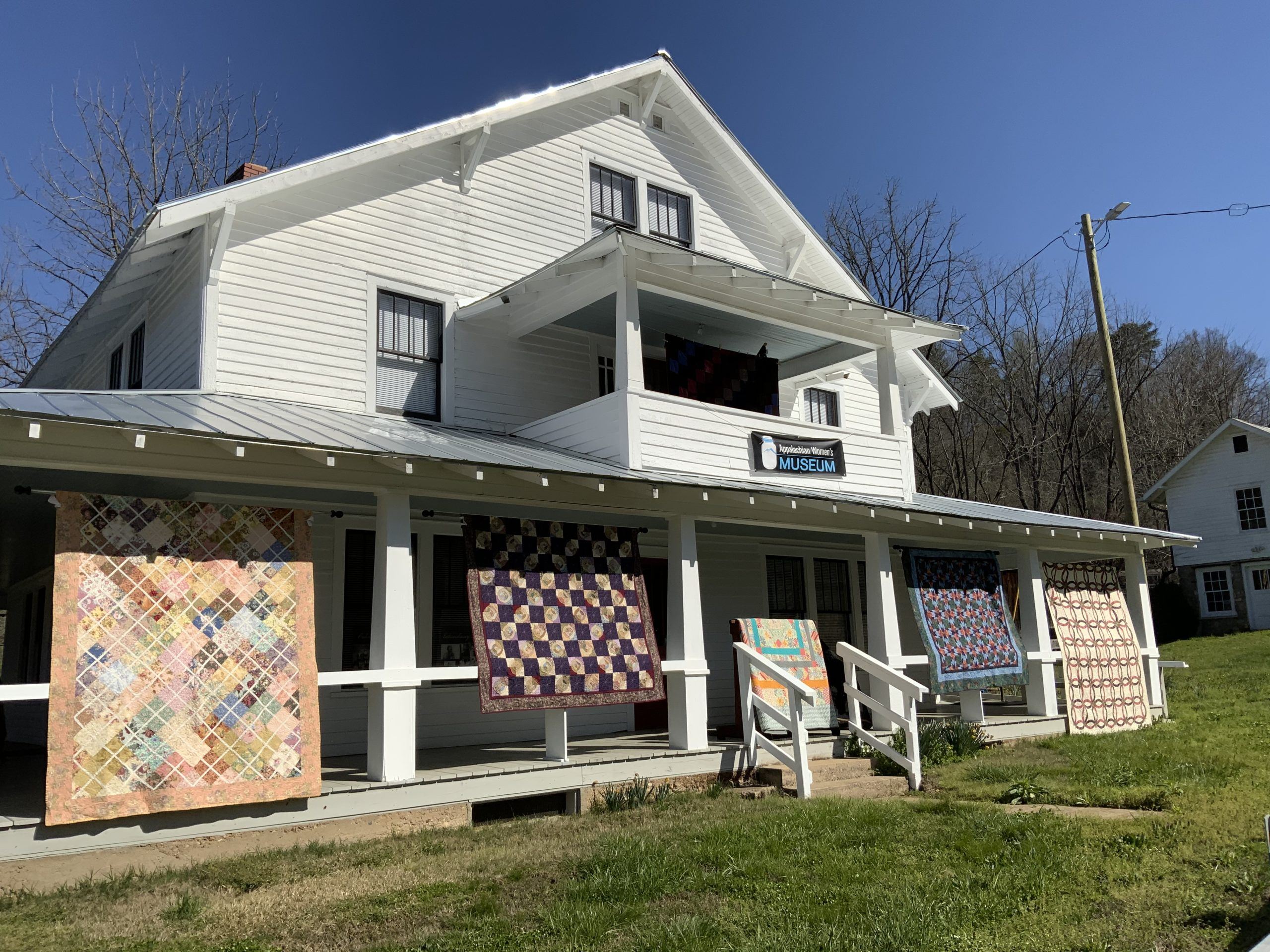 Quilts Displayed on Museum Porch