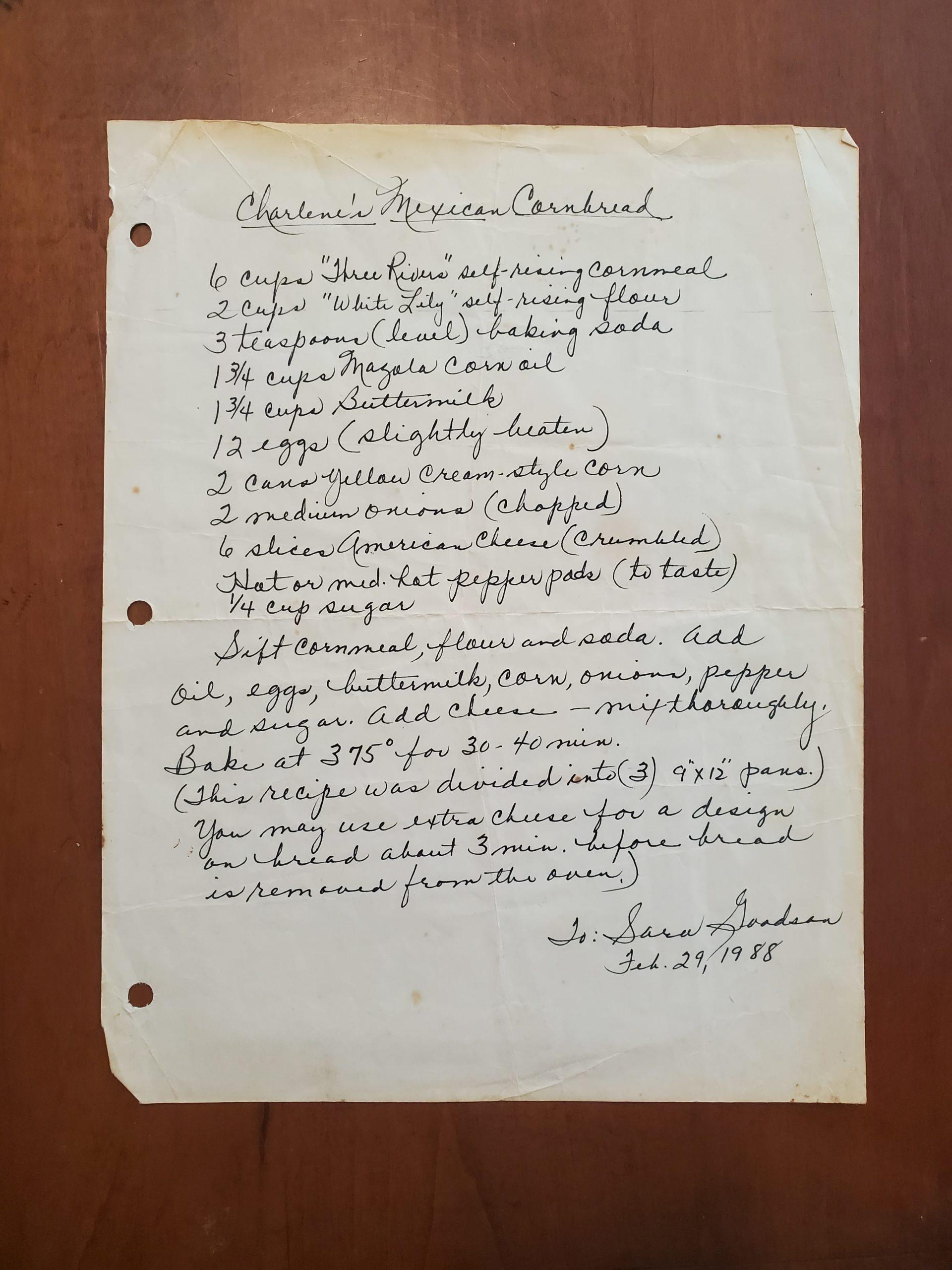 Handwritten Mexican Cornbread Recipe